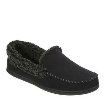 Mens Dearfoam  Black Microsede Memory Foam Moccasin Shepra Lined Slippers Medium