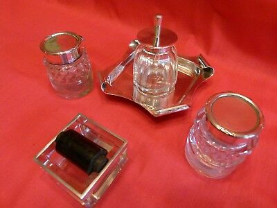 Edwardian Desk Set Trio,solid Silver & Cut Glass Inkwell,stamp Wetter & Glue Pot