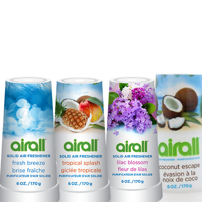 6x Airall 170g Solid Air Freshener Coconut Lilac Tropical Breeze