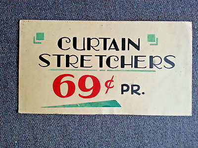 Vintage 1930's Curtain Stretchers Advertising Hand Painted Display Store Sign