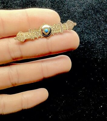 Victorian Brooch Gold Filled Glorious Antique Pin Aesthetic Movement Turquoise