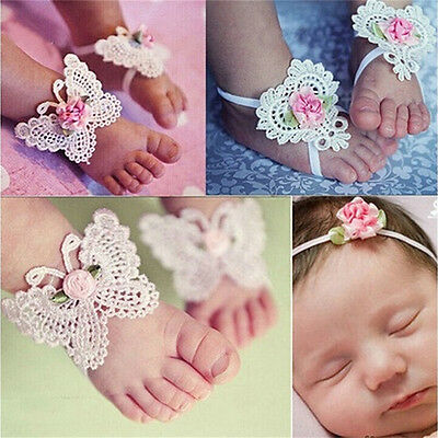 3Pcs/Set Newborn Baby Girls Butterfly Headband Headdress Foot Flower Photo HS
