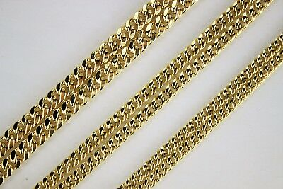 "10K Yellow Gold Hollow Miami Cuban Link Chain Necklace 4mm 4.5mm 5.5mm 16"" ~ 30"""