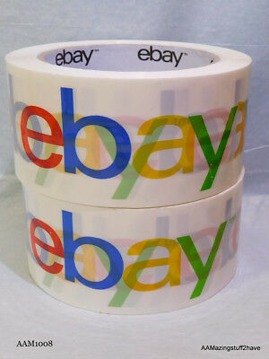 """2"""" x 75 yards Classic - WHITE Official eBay Branded Packaging Tape  2 Rolls"""