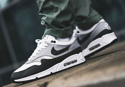 low priced 45464 df1cd 2018-19 NIKE AIR Max 90/1 Leather, White-Khaki-Black (AJ7695-107), UK 6 to  12