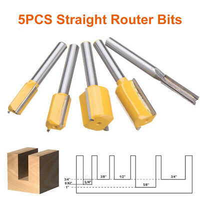 5Pc Straight Dado Router Bits Set 1/4 Inch Shank Trimming Cutter For Woodworking