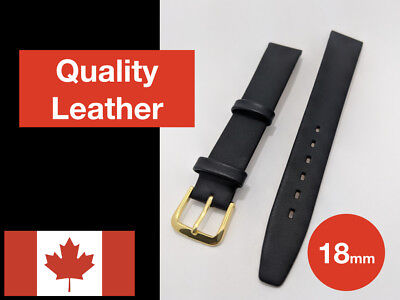 Leather Watch Strap Band 18mm Black Genuine Soft Calf Skin Quality