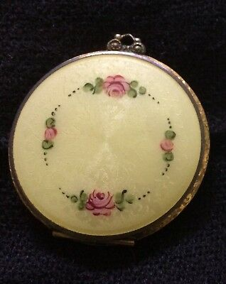 Hand painted Guilloche Enamel Vintage Compact with beautiful gilt edging.