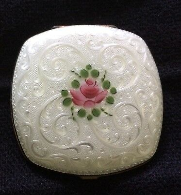 Vintage Guilloche Enamel Elgin American Compact for lipstick and powder.