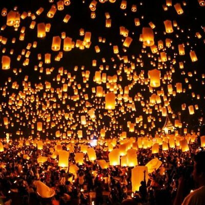 50pcs Chinese Paper Sky Lanterns Sky Fire Fly Candle Lamp for Wish Wedding Party