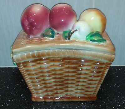 Vintage Retro Ceramic Fruit Basket Kitsch 50s -60s  Made In Japan Biscuit Barrel