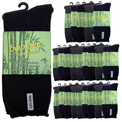 24 Pairs PREMIUM BAMBOO SOCKS Men's Heavy Duty Thick Work Socks Cushion BULK