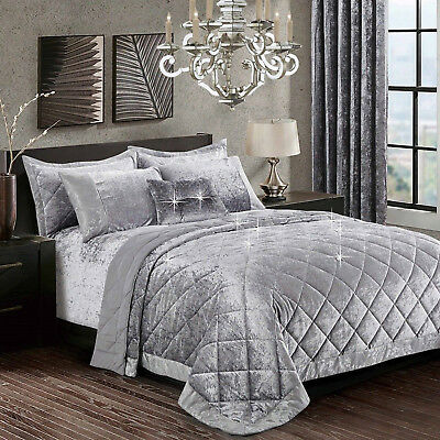Velvet Santiago Silver Quilted Bedspread Bedding Sets With Pillowcases King Size