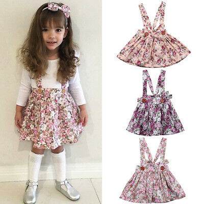 Newborn Toddler Baby Girl Floral Party Princess Bib Strap Skirt Dress Clothes