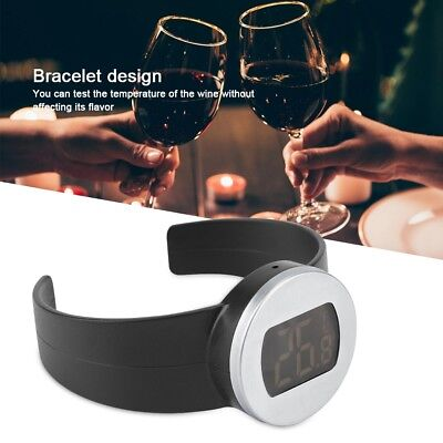 Stainless Steel Wine Bottle LCD Display Serving Bracelet Thermometer Checker NEW