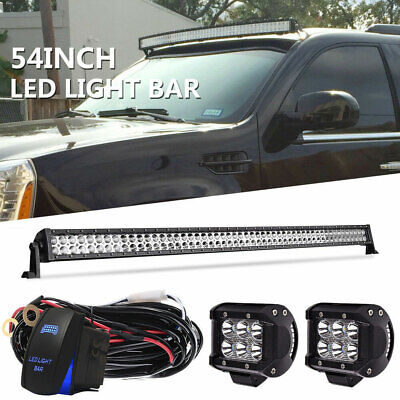 54Inch 312W Curved LED Work Light Bar Spot Flood Combo Offroad 4WD Driving 52 20