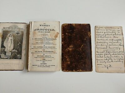 The works of Aristotle - In four parts 1827 - with Manuscript and Ex Libris
