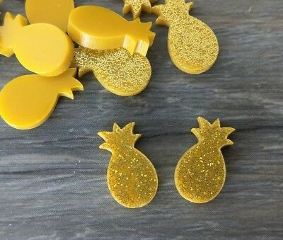Pineapple Cabochon 2pc Yellow Glitter Acrylic Fruit Laser Cut Shape DIY Earrings