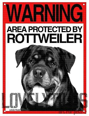 ROTTWEILER cartello cane ATTENTI AL CANE WARNING AREA PROTECTED BY