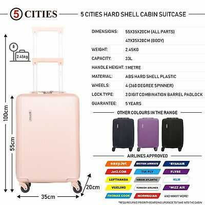 5 Cities Light Hard Shell Hand Cabin Luggage Suitcase Rose Gold Pink Womans