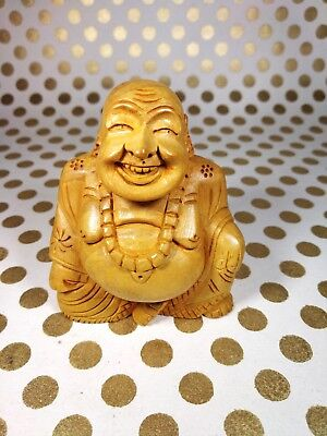 Wood Carved Buddhism Beads Lotus Happy Buddha Statue Sculpture Amulet Pendant