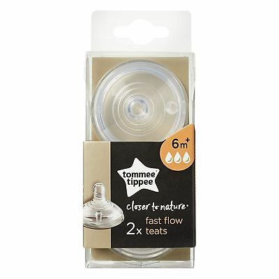 Tommee Tippee Closer To Nature Fast Flow Teats 6m+, 1 Pack - 2  Nipples