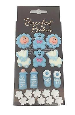 Edible Baby Shower Christening Cake Decorations | Blue Boy Cupcake Toppers