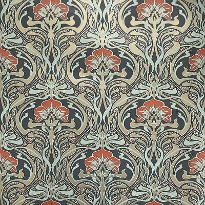 Crown Archives Flora Nouveau Wallpaper Peacock Green M1196 - Feature Wall New