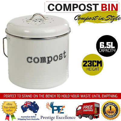 6.5L Home Compost Bin Waste Composter Food Garden Recycling Tumbler Scrap Trash