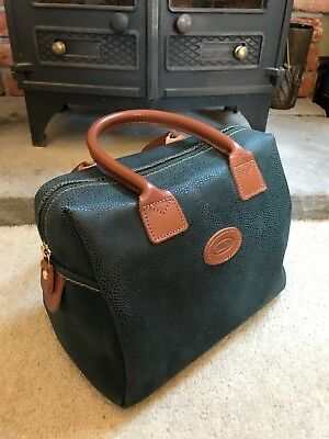 Brics Vintage Tan Leather And Dark Green Brushed Scotchgrain Suede Bowling Bag