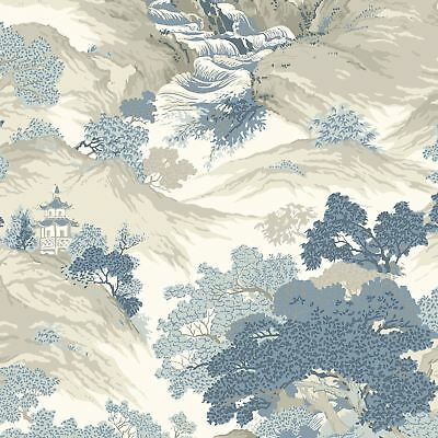 Crown Archives Oriental Landscape Wallpaper China Blue M1190 - Feature Wall New