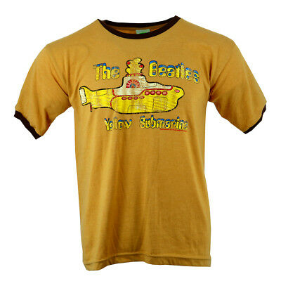 The Beatles Yellow Subramine Logo Men's T-shirt Brown Official Licensed Music