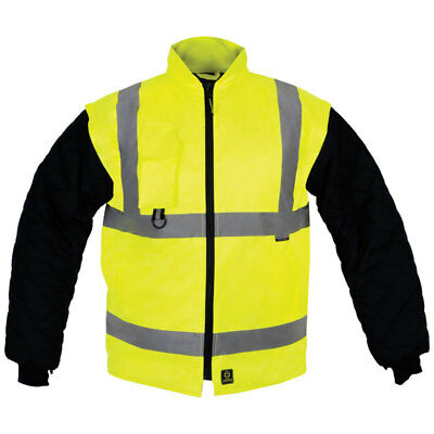 Hi Visibility Viz Yellow Reversible Body Warmer Gilet  Detachable Sleeves 4XL
