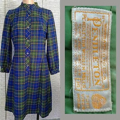 Vintage 70s PENDLETON DRESS Wool SHIFT Blue Green PLAID Button-Up LINED Size 14