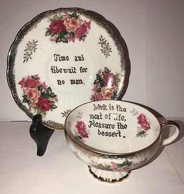VINTAGE  ROYAL HALSEY VERY FINE CHINA TEA CUP & SAUCER w/ FANCY PRINTED SAYINGS
