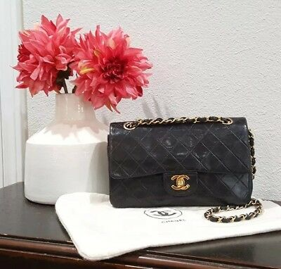 748131b773a94f Auth CHANEL Black Quilted Lambskin Vintage Small Classic 2.55 Double Flap  Bag