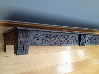 Antique 18th Century Oak Cupboard Top Frame Old Carved Gothic Architectural