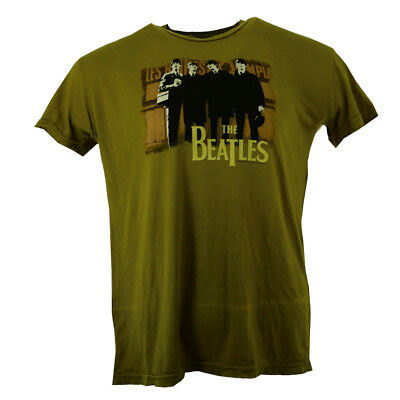 The Beatles Fab Four Distressed Men's T-shirt Green Official Licensed Music