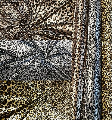 Leopard Print Velvet Jersey Stretch Fabric Material For Table Cloths Curtains