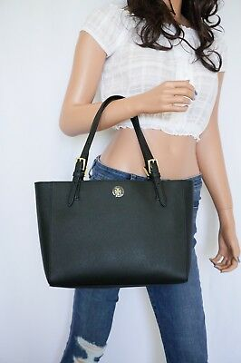 3ab837e7eea1b NWT TORY BURCH Emerson Small Buckle Tote Bag Black Saffiano Leather ...