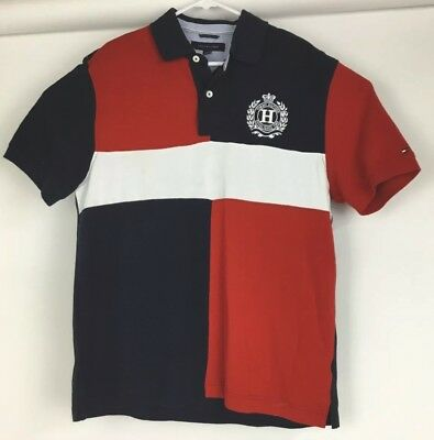 f4b6cdd5 Tommy Hilfiger Large Polo Shirt Big Crest Logo Short Sleeve Rugby Flag  Colors