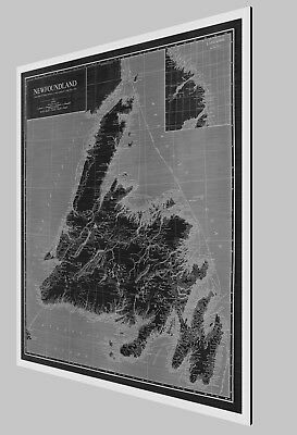 "1924 Antique Map - NEWFOUNDLAND Canada - Brushed Aluminum print - 32"" x 36"""