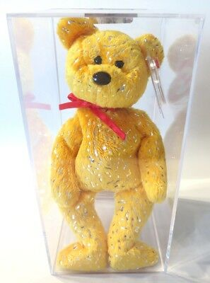 db3be56a571 Authenticated ODDITY Ty Beanie Baby GOLD DECADE w  NO BUTTON On His Chest  MWMT!