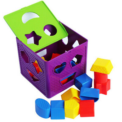 Educating Shape Sorting Cube Color Kid Learning Toy Sorter Block Ideal PresentBA