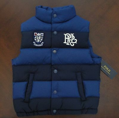 NWT Ralph Lauren Polo Boys Blue Navy Striped Down Puffer Logo Vest 4/4t NEW