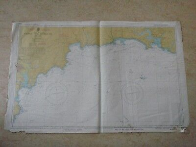 Vintage Falmouth To Plymouth Marine Sea Chart Nautical Map Design Piece