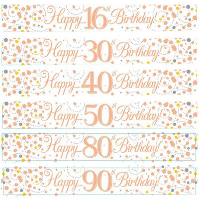 Happy Birthday Banner Age 16 18 21 30 40 50 60 70 80 90 Party Rose Gold Decor