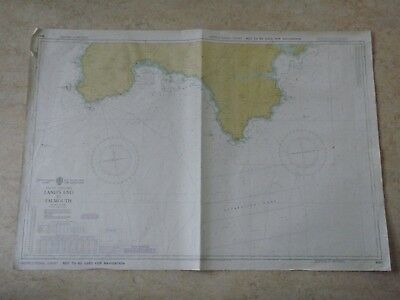 Vintage Lands End To Falmouth Marine Sea Chart Nautical Map Design Piece