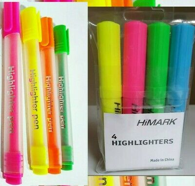 4 Pack Quality Highlighter Pens Markers School Revision Office High Lighter DW