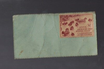 US Federal Duck Stamp $1 - Family of Ruddy Ducks RW8 1941 on MAINE LICENSE USED